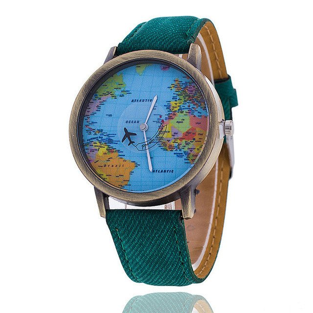 OCEANA world map watch giveaway - turquoise green