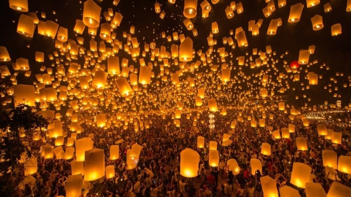 Shades of the World Series: Thousands of lanterns lit up the night as they are suspended into the open air