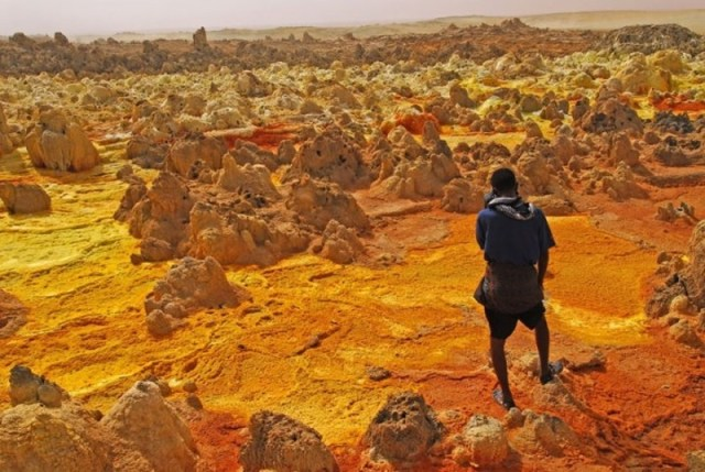 Shades of the World Series: slightly-pointed rocks surrounded the dry, orange earth in Dallol, Ethiopia