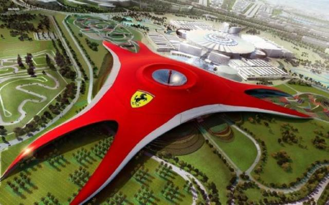 Shades of the World: An aerial view of the massive red canopy of Ferrari World