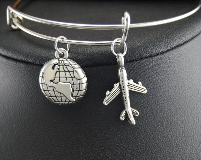 Travel Charm Wire Wrapped Bangle - Summer Travel Gifts For Female Travelers
