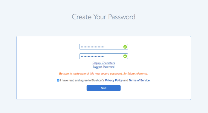 How to start a self-hosted WordPress blog with Bluehost - Step 2.7: Create a password step 2