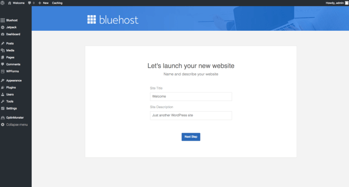 How to start a self-hosted WordPress blog with Bluehost - Step 2.13: Name your website