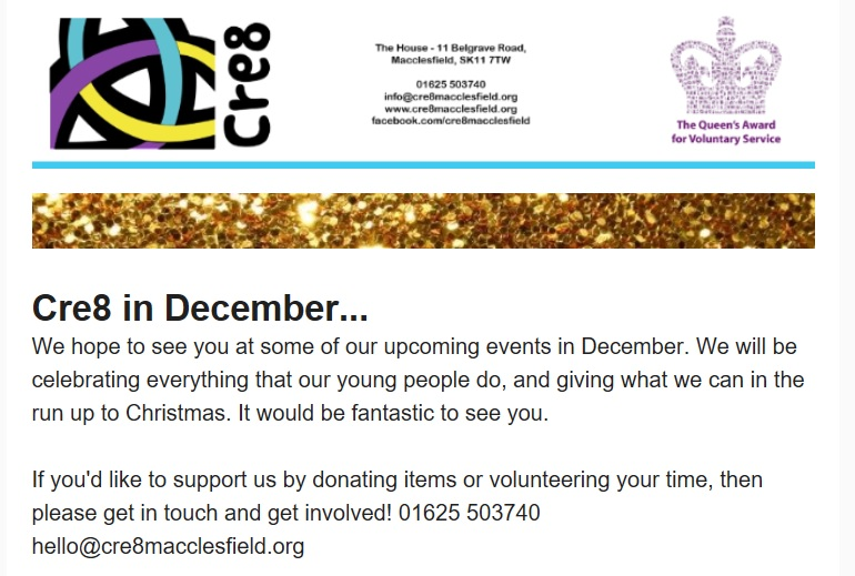 Support Cre8 at Christmas