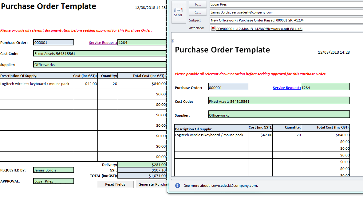 Macro Enabled Purchase Order Template StottAsia