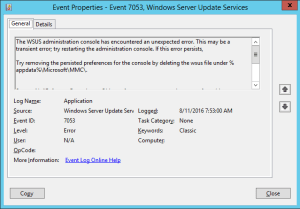 The WSUS administration console has encountered an unexpected error. This may be a transient error; try restarting the administration console. If this error persists, Try removing the persisted preferences for the console by deleting the wsus file under %appdata%\Microsoft\MMC\. System.NullReferenceException -- Object reference not set to an instance of an object. Source Microsoft.UpdateServices.UI.SnapIn Stack Trace: at Microsoft.UpdateServices.UI.SnapIn.Scope.ServerSummaryScopeNode.ResetScopeNode()