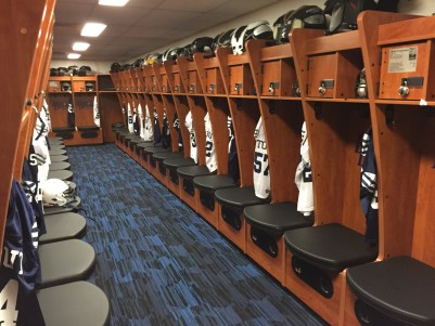 After a successful fundraising effort, the Blue Devil football team was able to renovate their locker room. / UW-Stout Sports Information photos