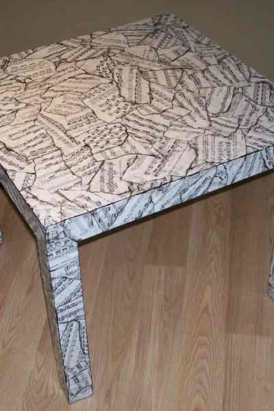 re-purposed table with decoupage