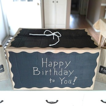 Cardboard storage box decorating- diy chalkboard painted gift box | stowandtellu.com