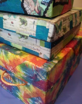 Tie-Dyed Napkin Decoupage Storage Box with Lid