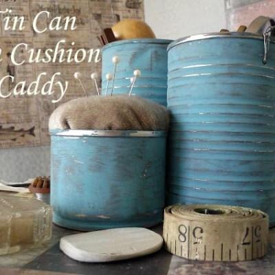 Tin Can Pin Cushion Caddy