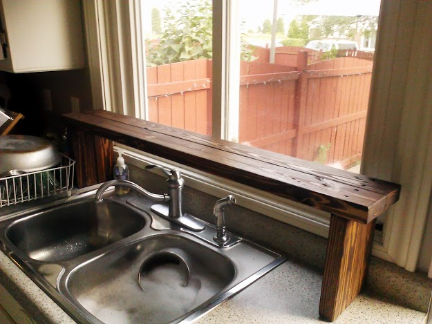 pallet wood over the sink window shelf
