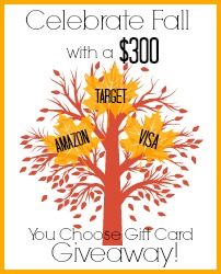 Celebrating Fall $300.00 Gift Card Giveaway