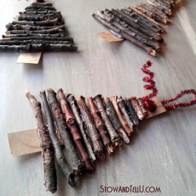 Rustic Twig Christmas Tree Ornaments