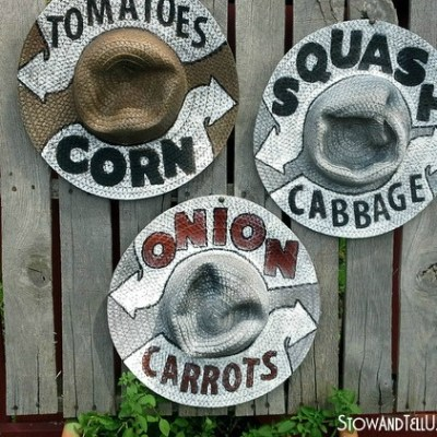 Garden or Farm Stand Straw Hat Signage