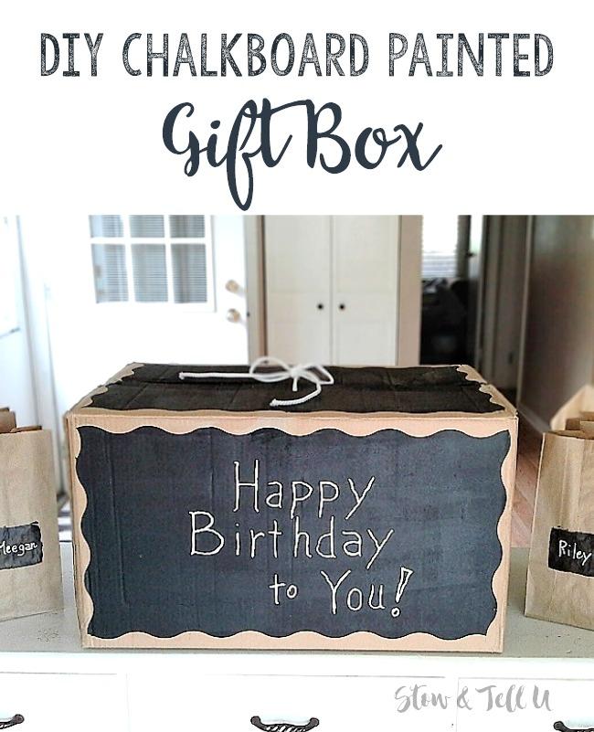 DIY Chalkboard Painted Cardboard Box Gift Box | DIY Gift Box | stowandtellu.com