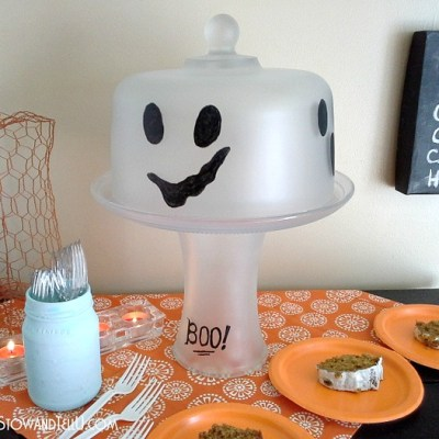Frosted Glass Ghost Cake Plate Stand
