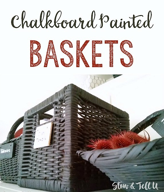 Easy DIY Chalkboard Painted Baskets | kitchen storage ideas | stowandtellu.com