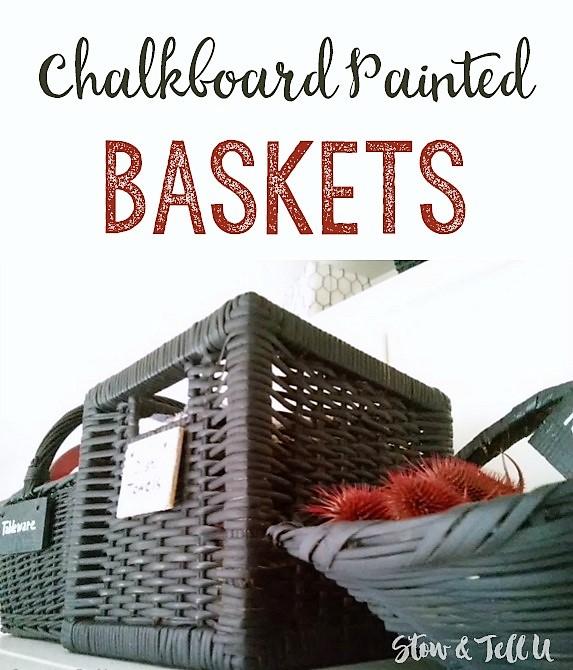 Easy DIY Chalkboard Painted Baskets | kitchen storage ideas | stowandtellu.com