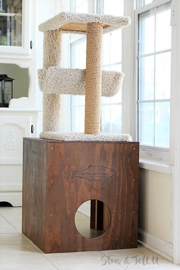 DIY Plywood Cat Cubby | stowandtellu