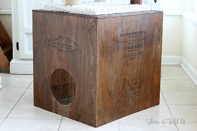 How to build a crate style wood cat cubby | stowandtellu