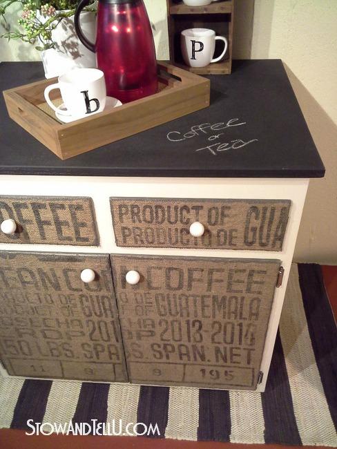 diy-decoupage-burlap-coffee-sack-covered-furniture-http://www.stowandtellu.com