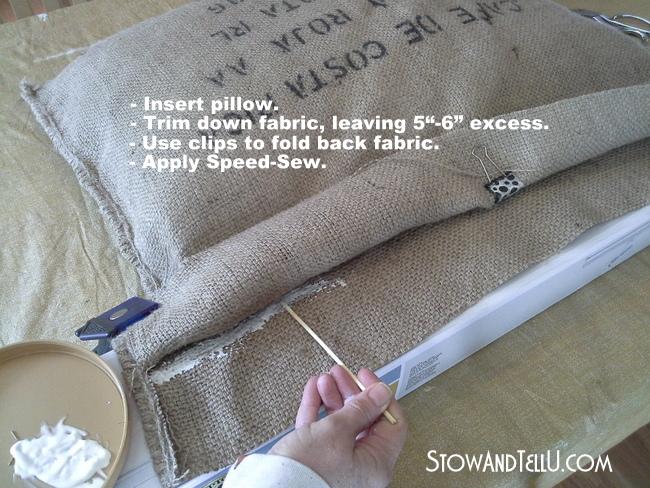 how-to-use-no-sew-glue-coffee-bean-sack-pillows-http://www.stowandtellu.com