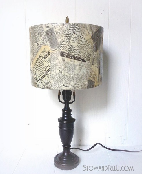 Weathered old newspaper lamp shade stowtellu old newspaper lamp shade craft httpstowandtellu aloadofball Choice Image