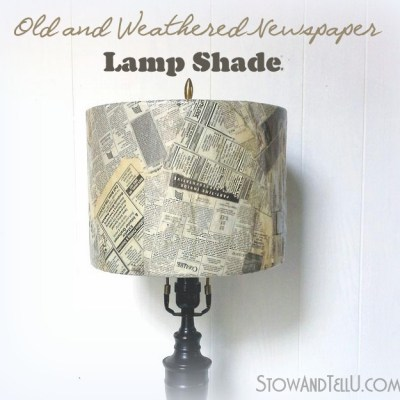 Weathered Old Newspaper Lamp Shade