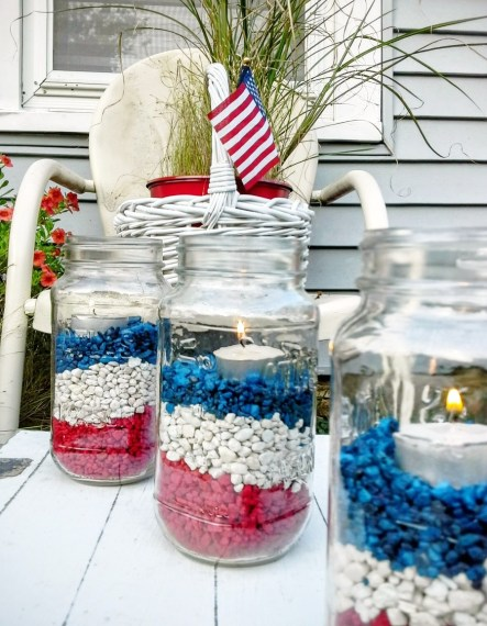 Fourth of July - gravel filled mason jar luminaries - StowAndTellU.com