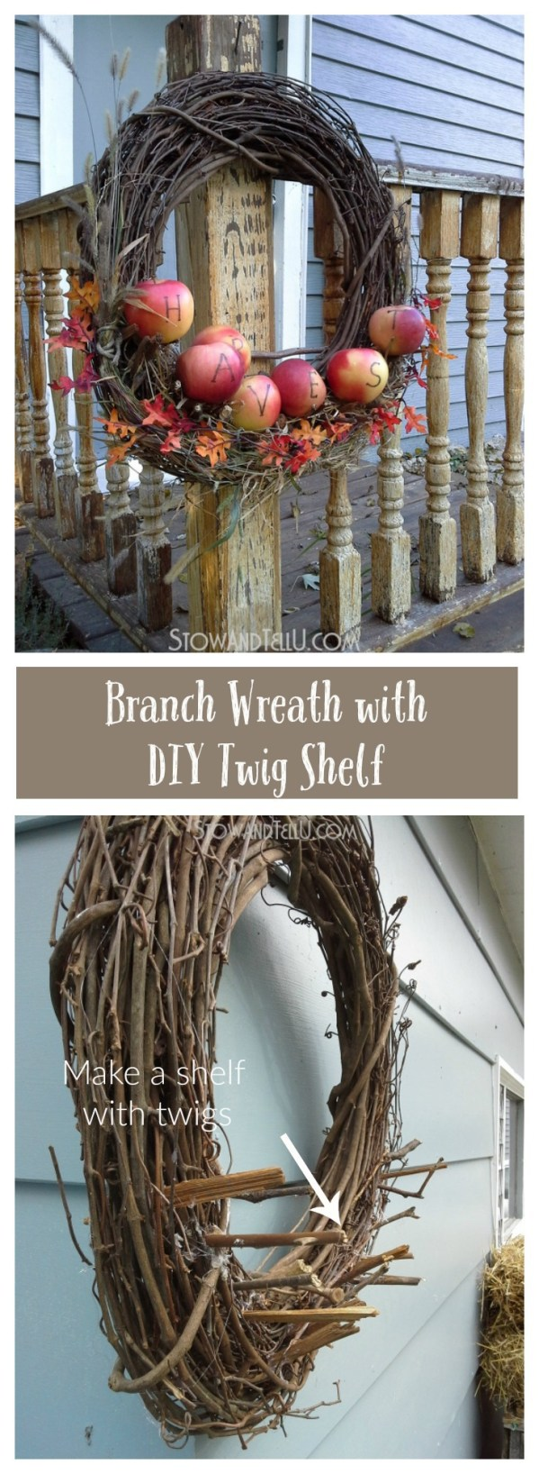 real-apples-wreath-twig-shelf-fall, harvest, party decor