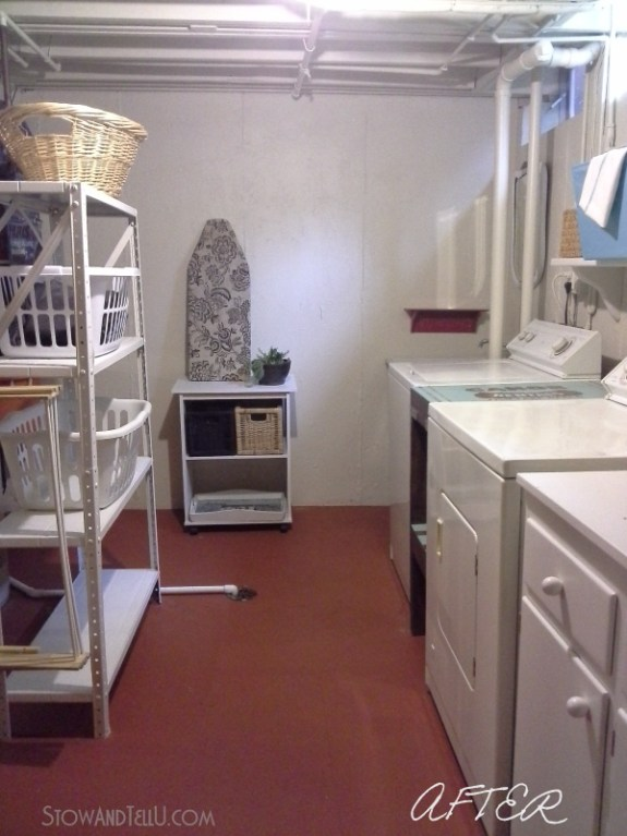 "Basement laundry room is updated almost exclusively with paint, several diy repairs and a ""use what you have"" approach from Stow and Tell U"