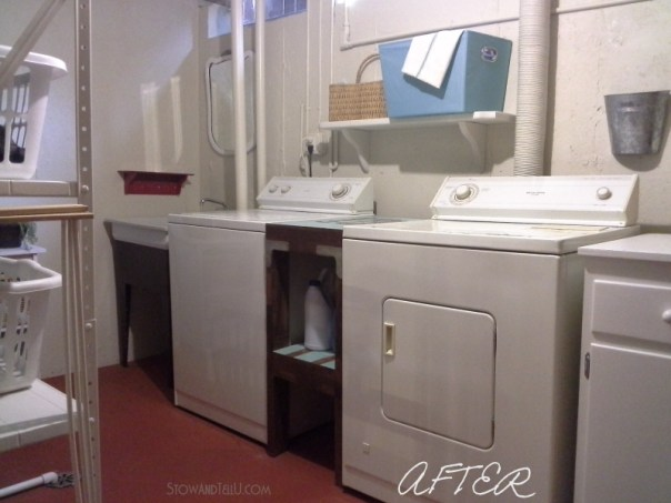 """Basement laundry room updated done almost exclusively with paint, several diy repairs and a """"use what you have"""" approach from Stow and Tell U"""