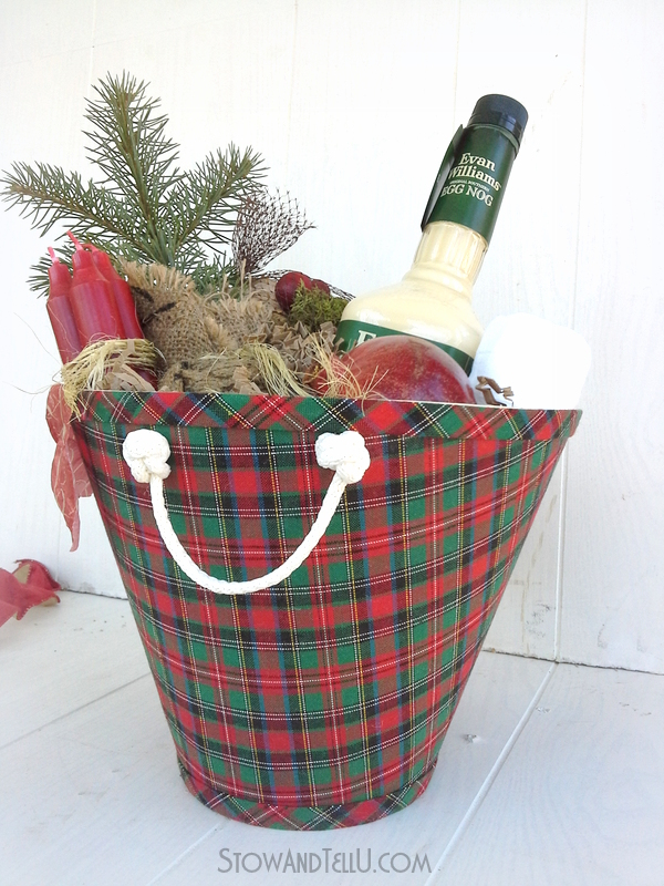 Lampshade upcycled into a DIY Christmas gift basket from Stow and TellU