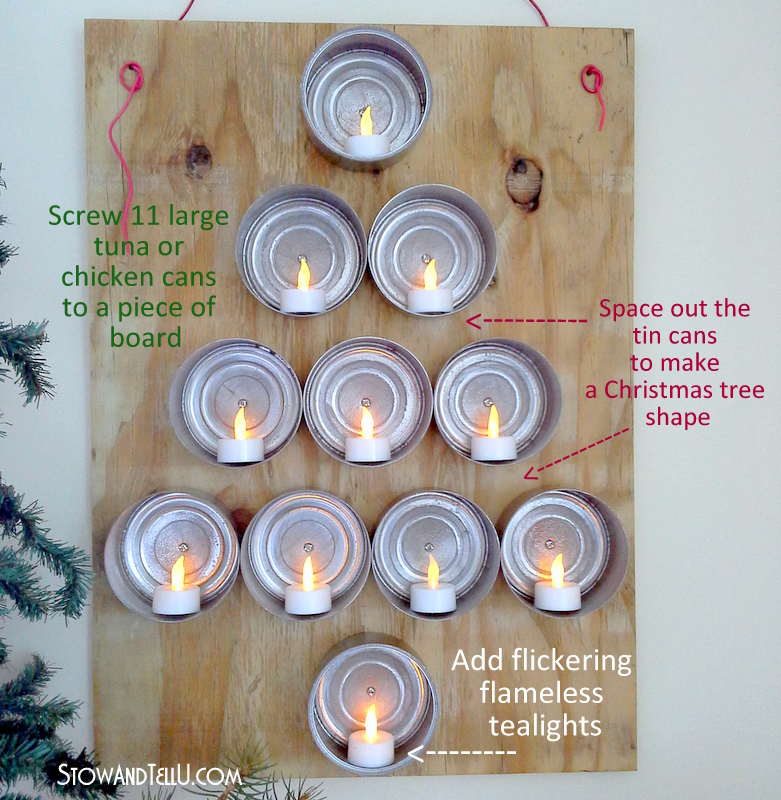 Soda In Christmas Tree Water: Lighted Tuna Can Christmas Tree