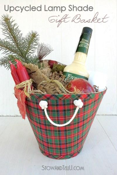 Upcycled Lamp Shade Gift Basket