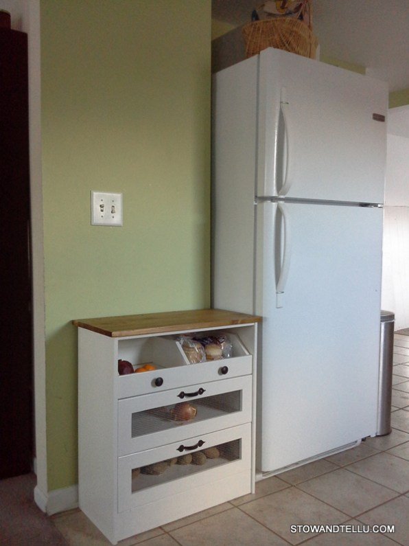 How to create more kitchen counter top space by moving some of the appliances and adding an inexpensive diy cabinet from Stow and TellU