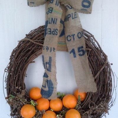 Cuties Wreath and Coffee Sack Bow