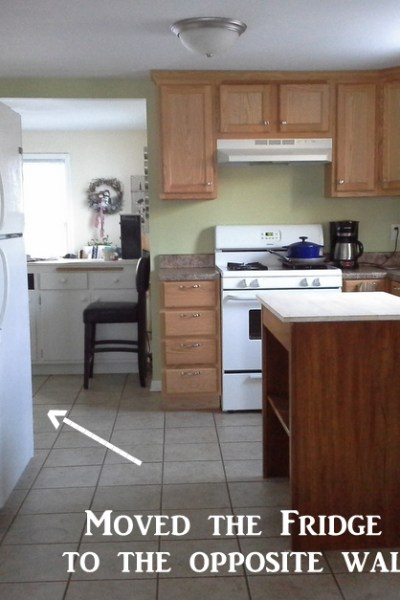 How I found more kitchen counter space startd by moving the refrigerator and then filling that space with an upcycled cabinet from Stow and TellU