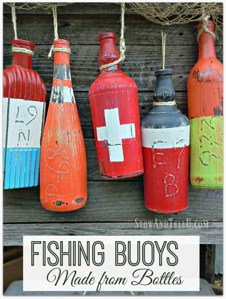 Glue writing on bottles - DIY fishing buoy bottles | Stowandtellu.com