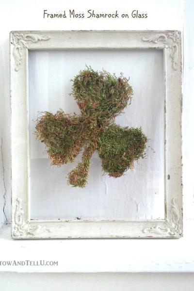 DIY Framed Moss Shamrock on Glass