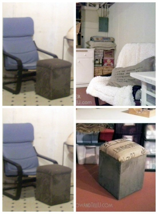 "Updating basement decor with ""use what you have decorating ideas"", an IKEA chair is covered with a Sherpa throw and an ottoman top is re-covered with a piece of burlap coffee sack - StowandTellU.com"
