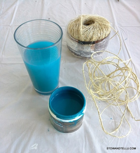 How to dye sisal-jute twine with paint to use for gift wrap, crafts, weddings, ornaments and more - StowAndTellU.com