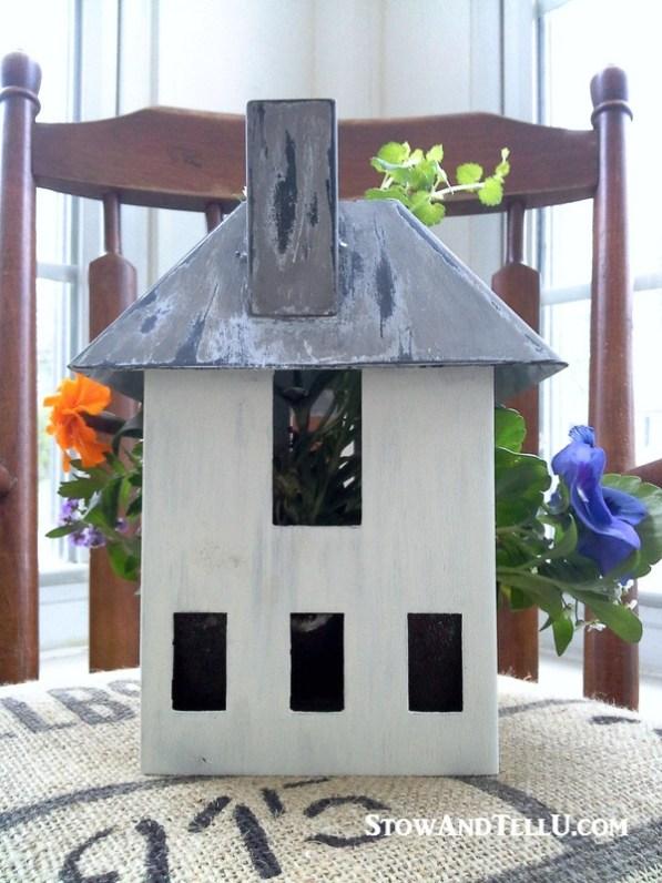Turn a miniature house or bird house into a planter. Nice for porch or patio, great gift idea - birdhouse-planter - StowAndTellU.com