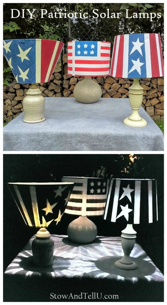 Old lamps painted red, white and blue and turned into outdoor solar table lamps - Patriotic Stars and Stripes Solar Table Lamps - StowandTellU.com