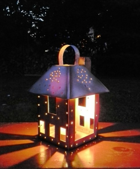 DIY Faux punched tin lantern house - StowandTellU.com