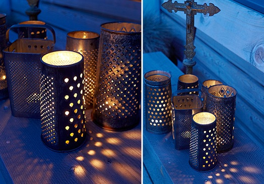 Faux punch tin lamp from a vintage cheese grater - StowAndTellU.com