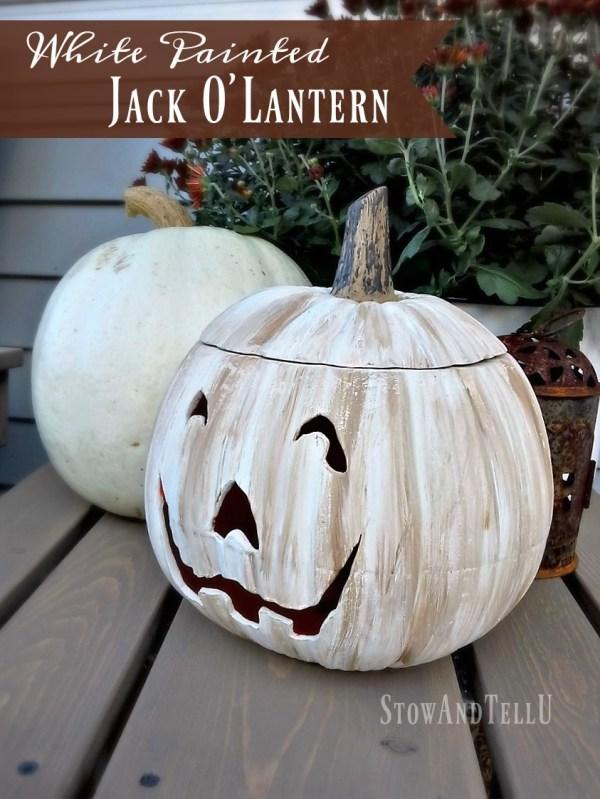 DIY White Painted Jack o Lantern | StowandTellU