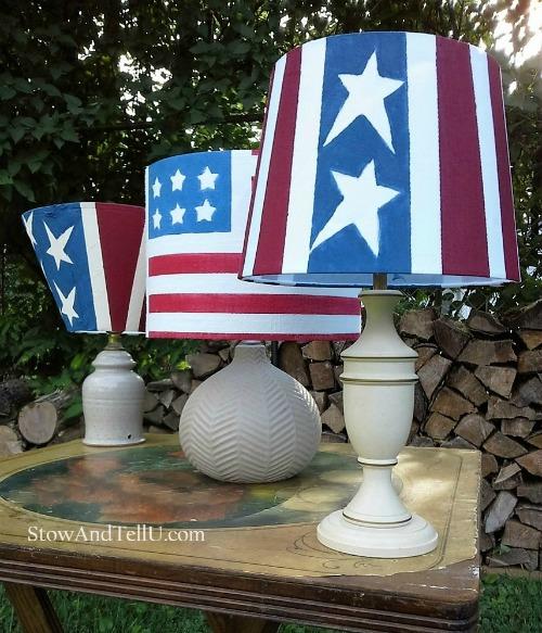 10 Best crafty reused items - American flag solar lamps | StowandTellU.com