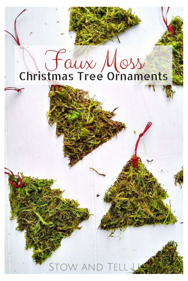 DIY Faux Moss Christmas Tree Ornament   Easy Christmas holiday craft   StownadTellU